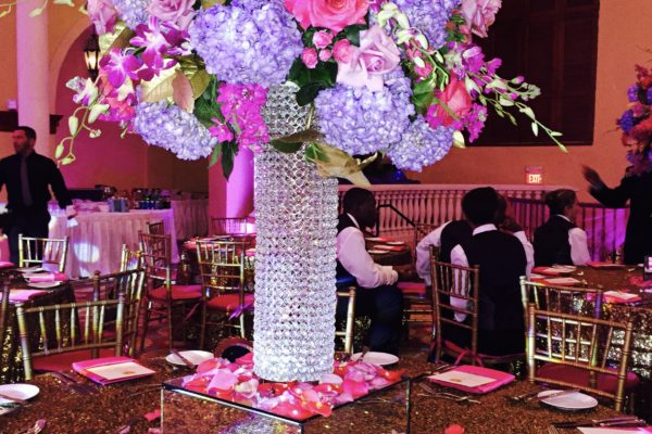 purples and pinks centerpiece
