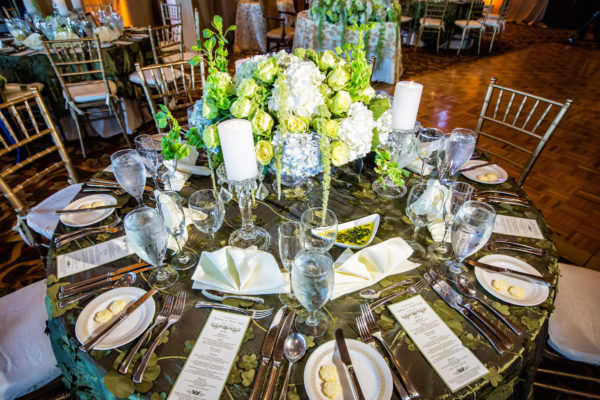 Elegant wedding decor done with blues and greens